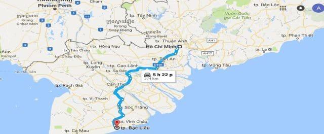 Khoảng cách từ Thành phố Hồ Chí Minh đi Bạc Liêu
